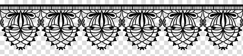 Lace brushes, black floral top border transparent background.