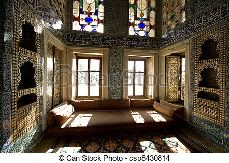 Stock Photo of Turkey Sultan room details inside Topkapi Palace.