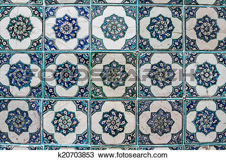 Drawing of Ottoman Wall Tile from Topkapi Palace k20703853.