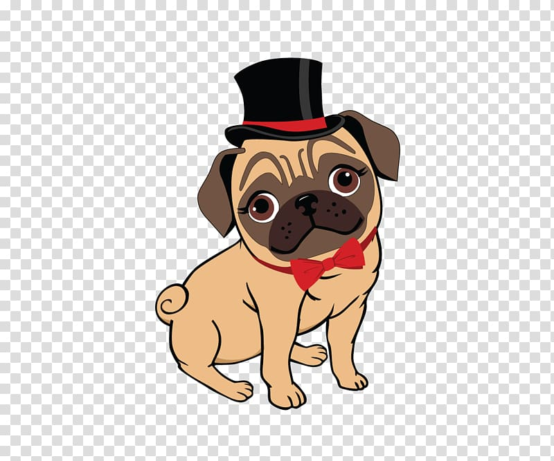 Fawn pug wearing top hat illustration, Pug Puppy Canidae Toy.