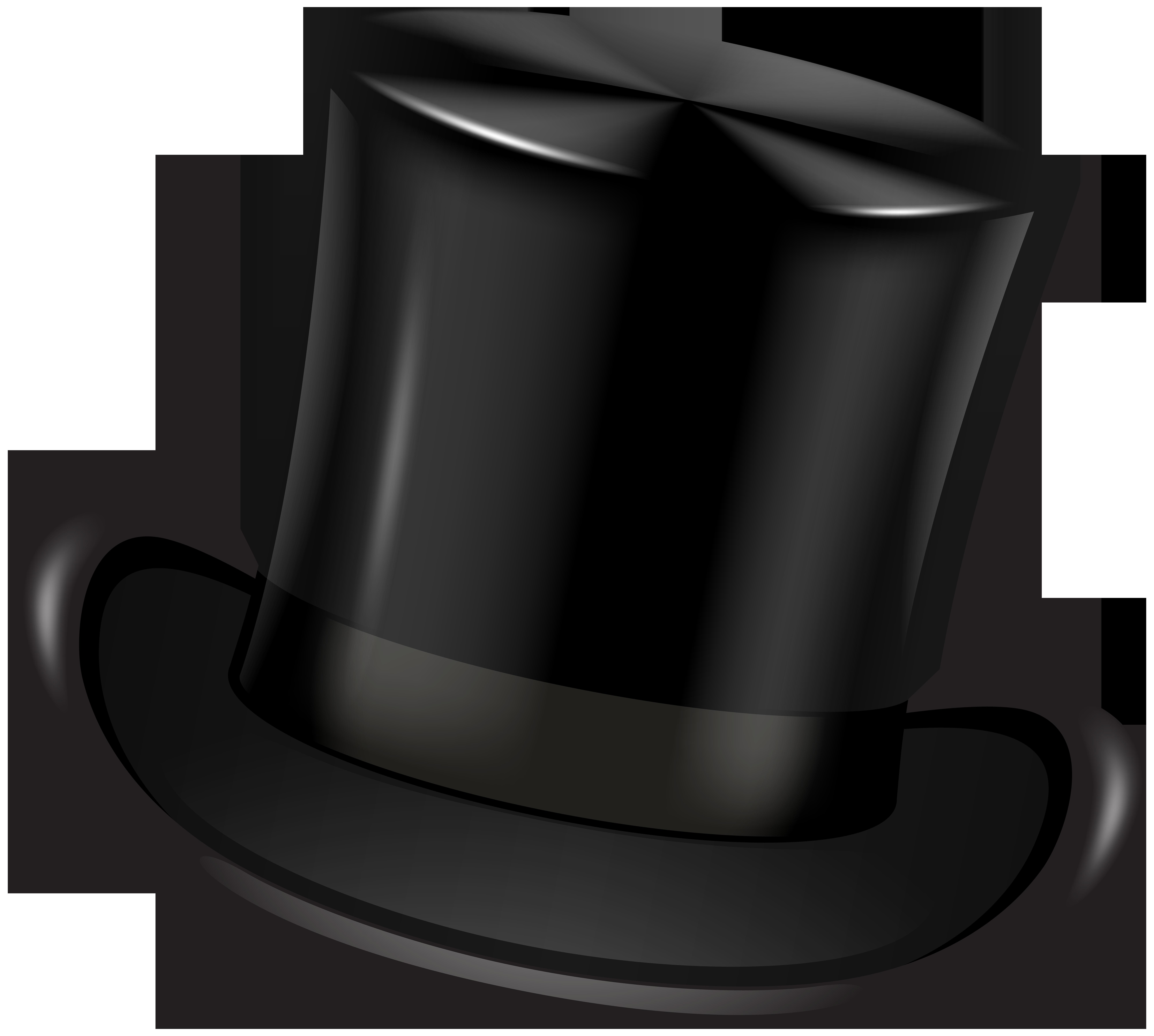 Black Top Hat Transparent Clip Art PNG Image.