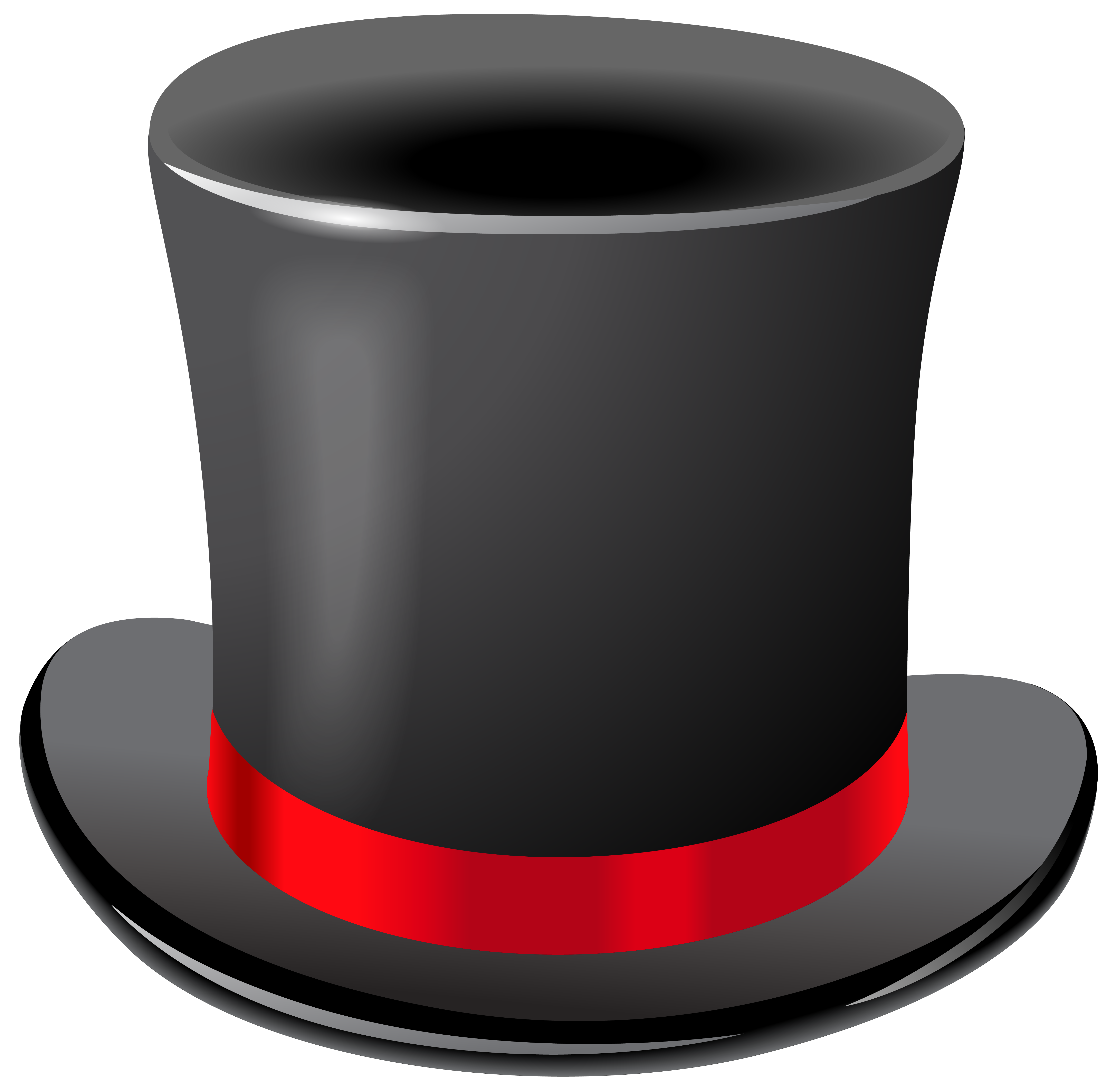 Black Top Hat Transparent PNG Clip Art Image.