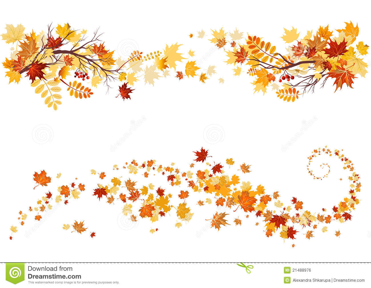 Falling Leaves Banner Clipart.
