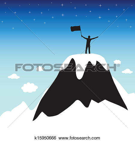 Clip Art of Silhouette of man on top mountain k15950666.