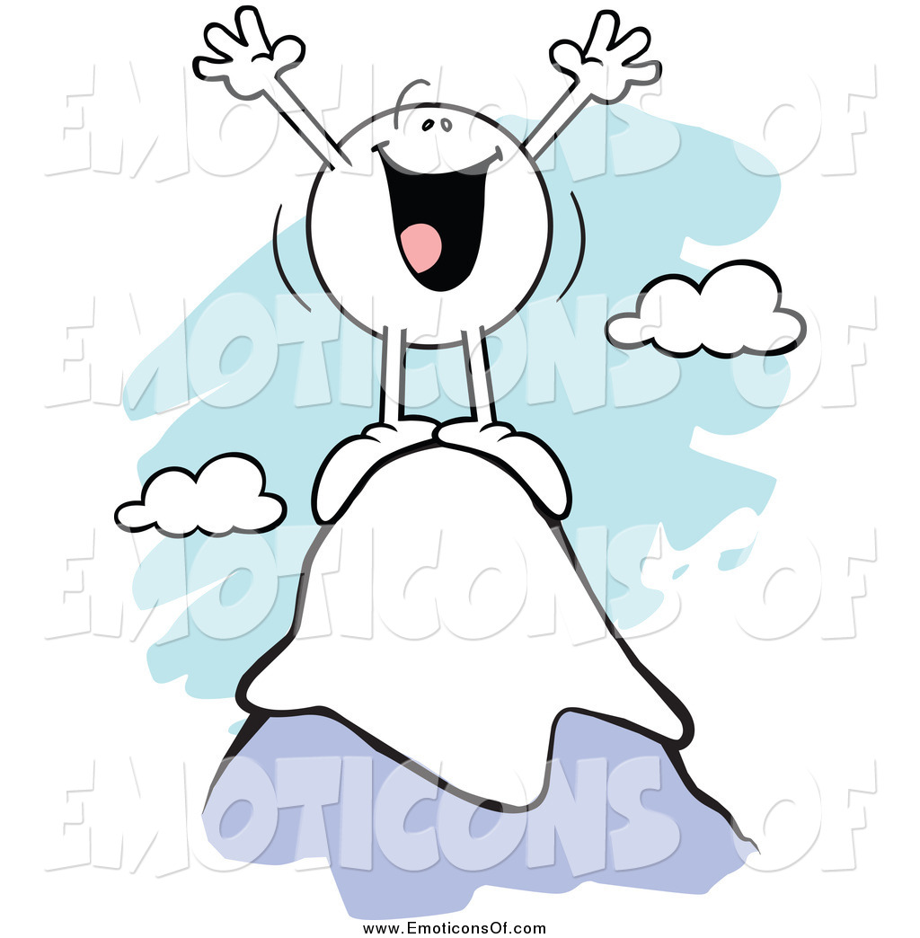 Clip Art Vector Cartoon of a Successful Cheering Emoticon on Top.