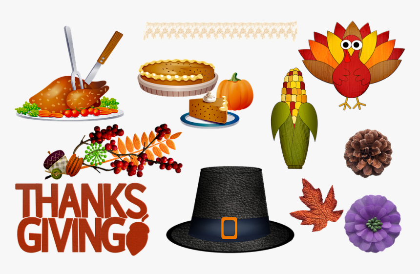 Thanksgiving, Pilgrim Hat, Corn, Pumpkin Pie, Flowers.