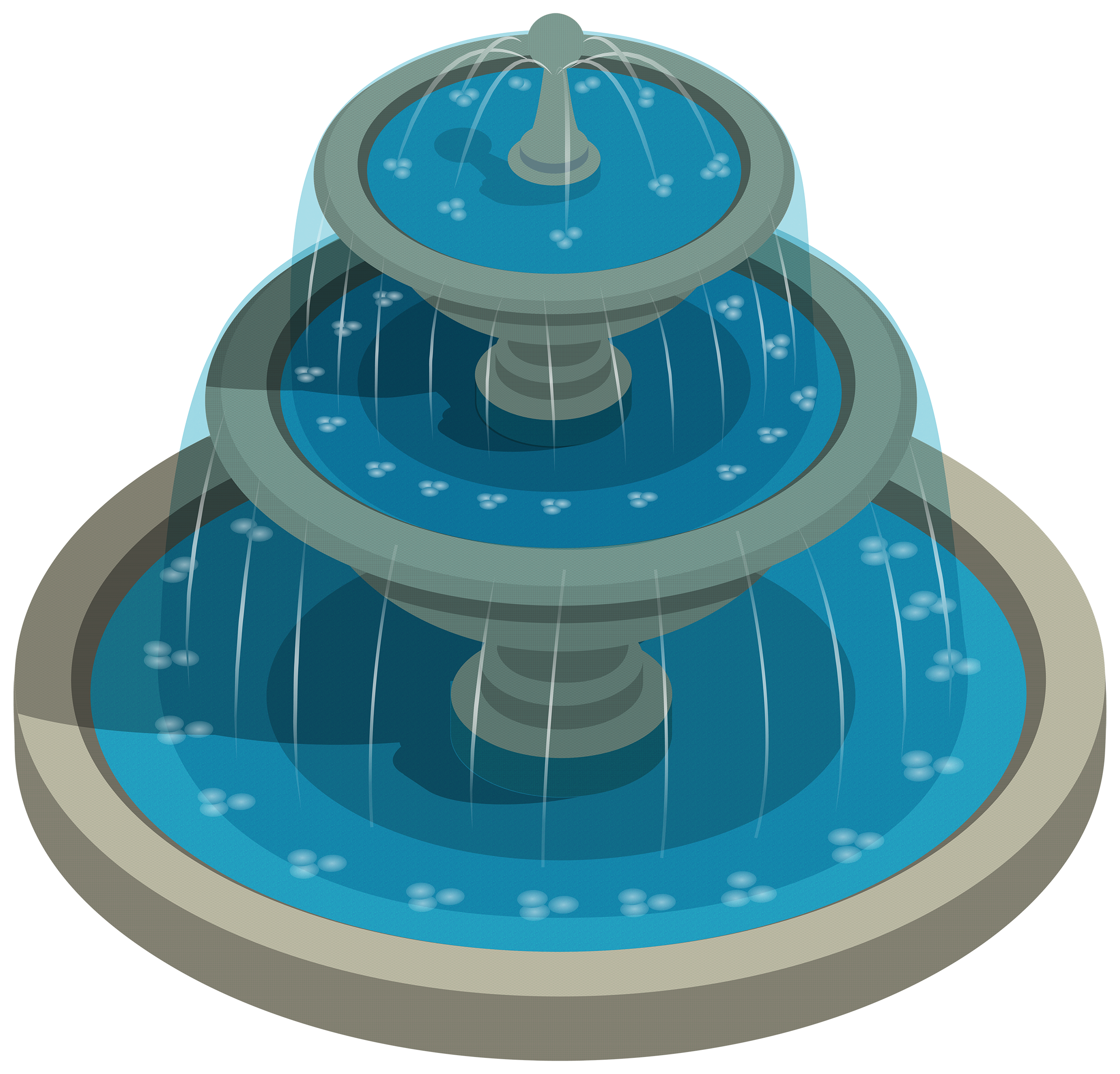 Round Water Fountain PNG Clipart.