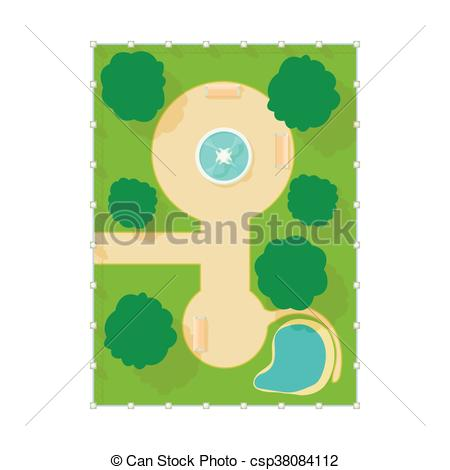 Vector Clip Art of Top view of park with fountain icon, cartoon.