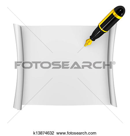 Clip Art of Fountain Pen And Paper Top View k13874632.