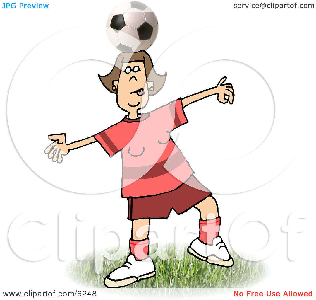 Girl Balancing a Soccer Ball on Top of Her Head Clipart Picture by.