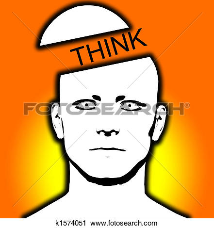 Clipart of Think Open Top Head k1574051.