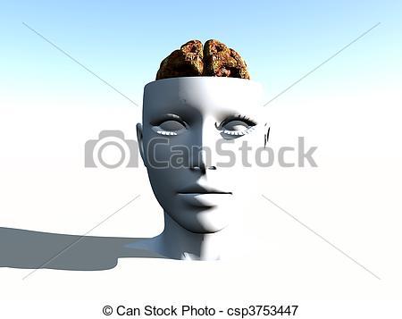 Clip Art of Open Top Anatomical Head.