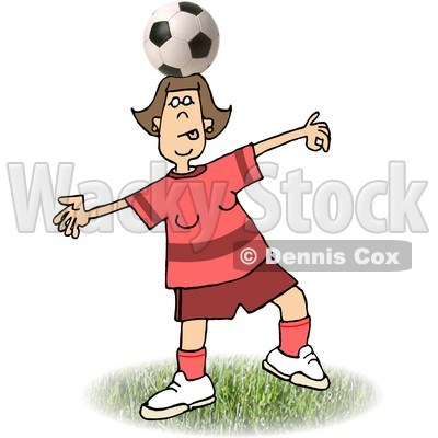 Balancing a Soccer Ball on Top of Her Head Clipart Picture.