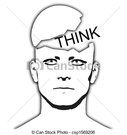 Stock Illustration of Think Open Top Head.