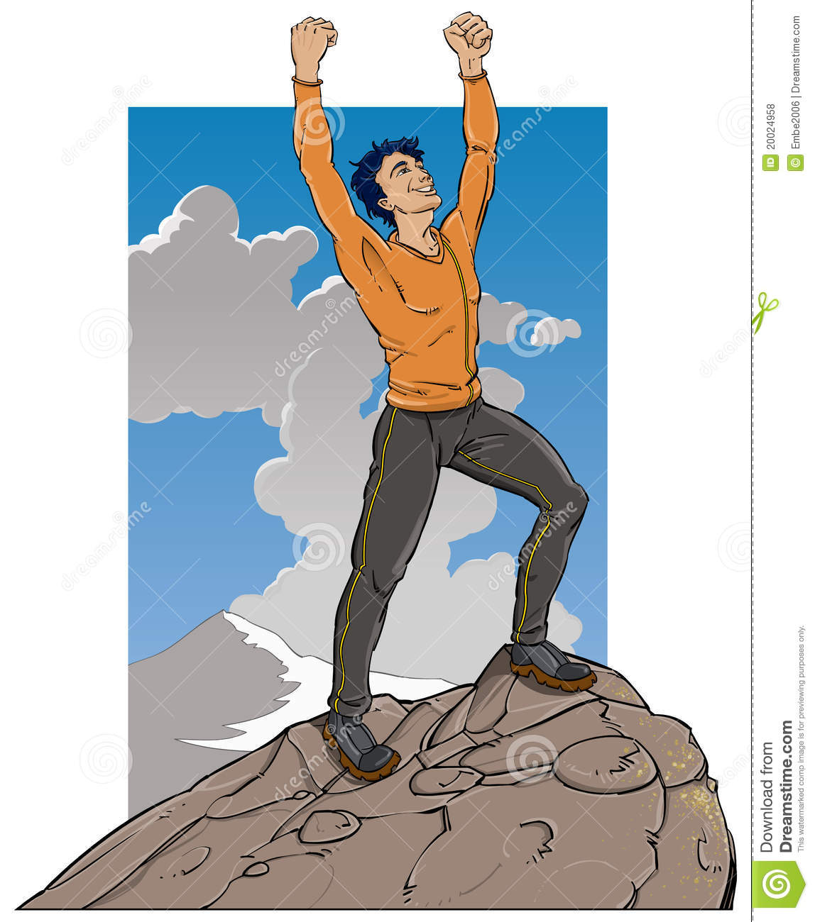 Person on top of a mountain cartoon.