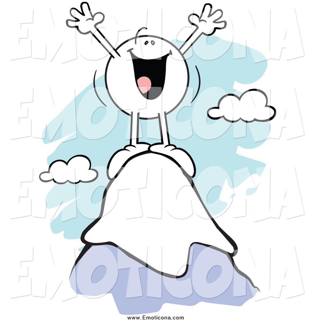Vector Cartoon Illustration of a Mountain Top Emoticon Cheering by.