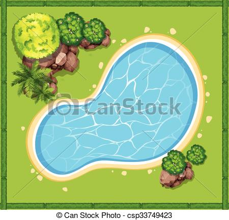 Vector Illustration of Top view of swimming pool in the garden.