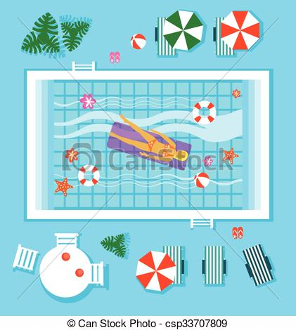 Vector Clipart of Swimming Pool in Top View with Outdoor Element.