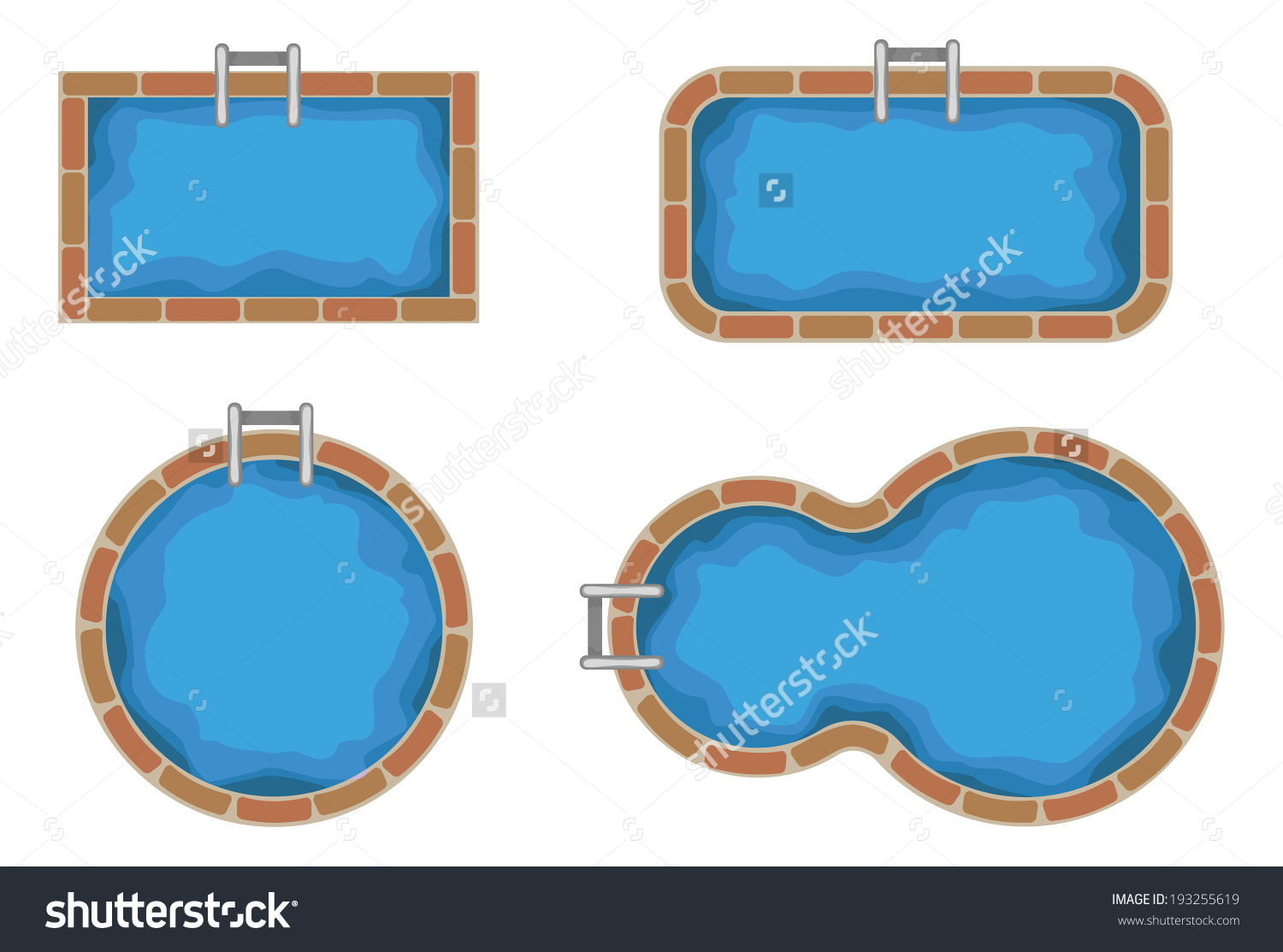 Swimming Pools Top View Stock Vector 193255619.