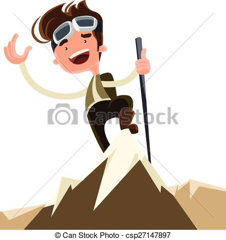 EPS Vectors of Conquer the mountain peak top vector illustration.