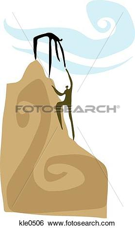 Stock Illustration of People reaching the top of a mountain peak.