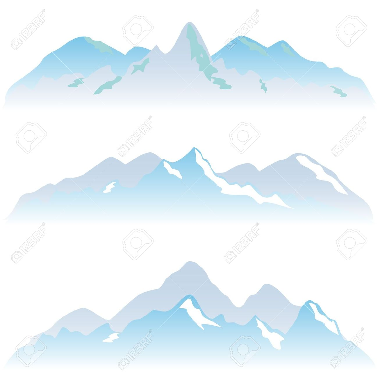 Snowy Mountain Peaks In Winter Royalty Free Cliparts, Vectors, And.
