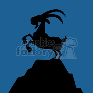 Royalty Free RF Clipart Illustration Black Goat Silhouette On Top.