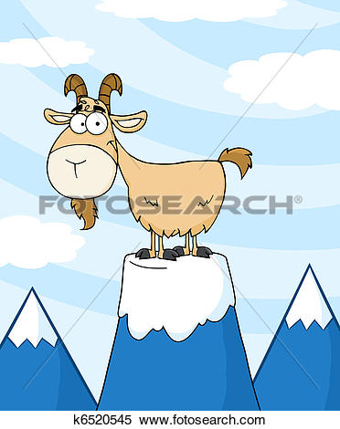 Clipart of Goat On Top Of A Mountain Peak k6520545.