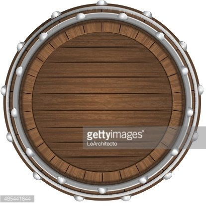 wooden barrel top object 3D design isolated Clipart Image.