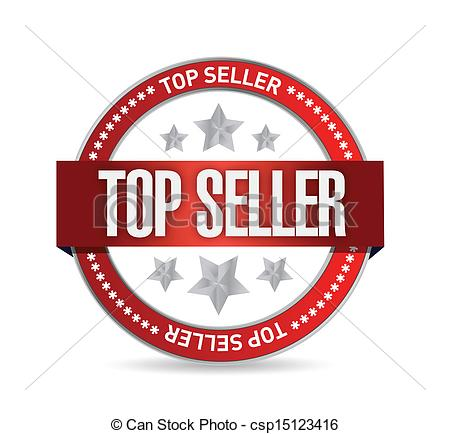 Vector Clip Art of top seller seal illustration design over a.