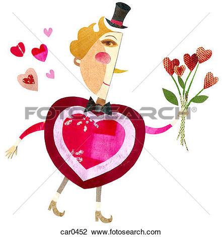 Clip Art of A man with a heart.