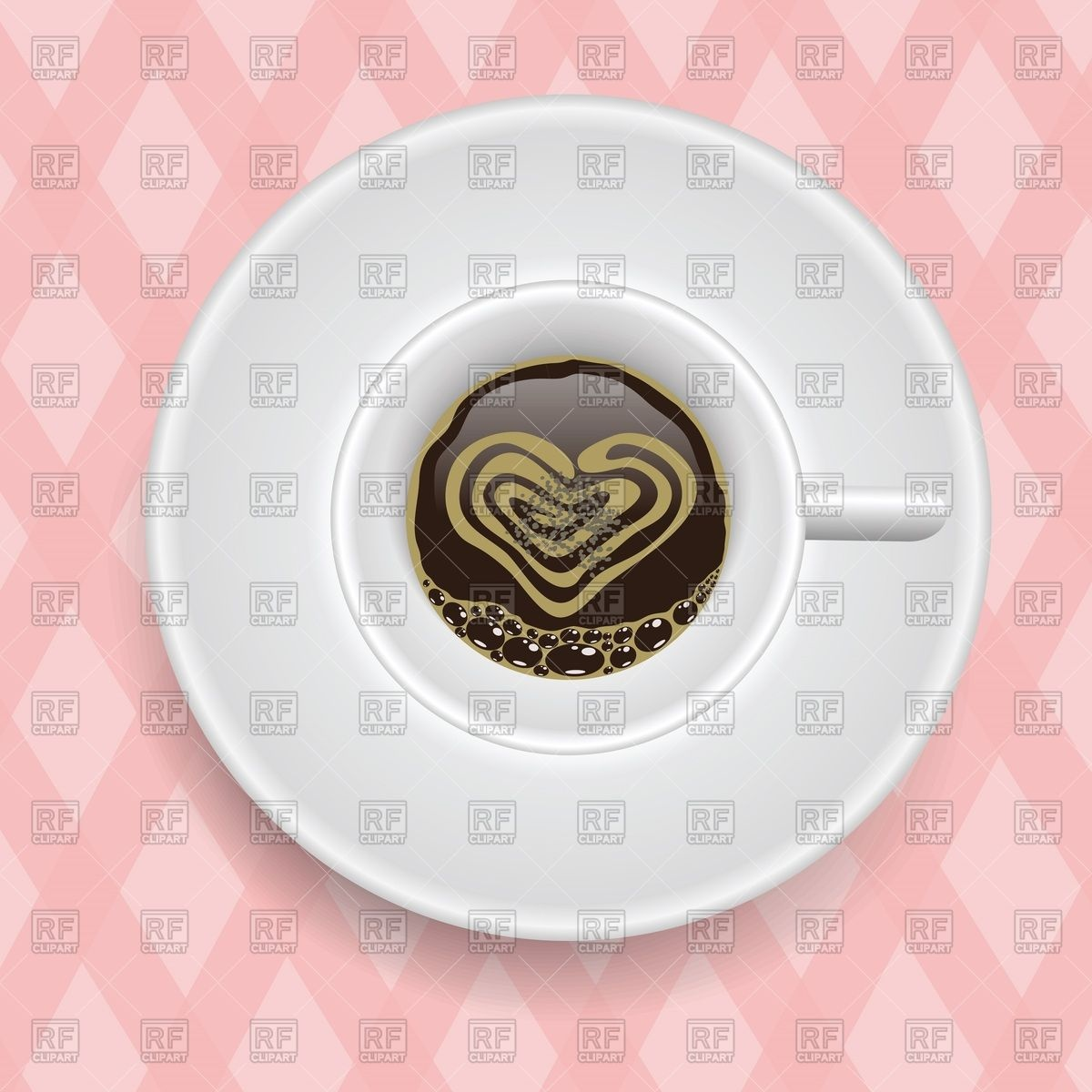 Top view of coffee cup on saucer with heart.