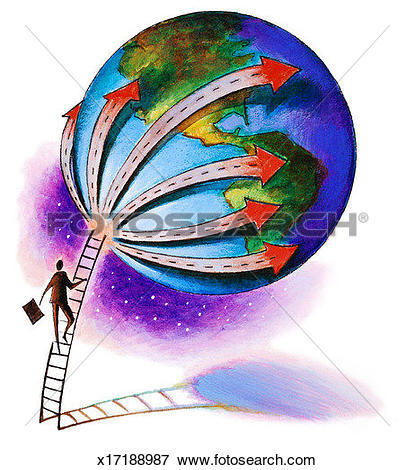 Stock Illustration of Man climbing ladder up to globe; highway.