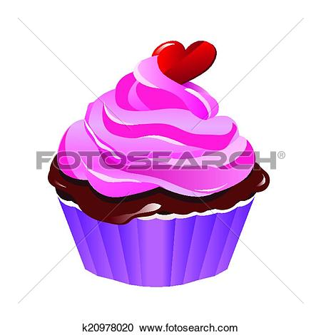 Clipart of cupcake with heart shaped candy on top k20978020.