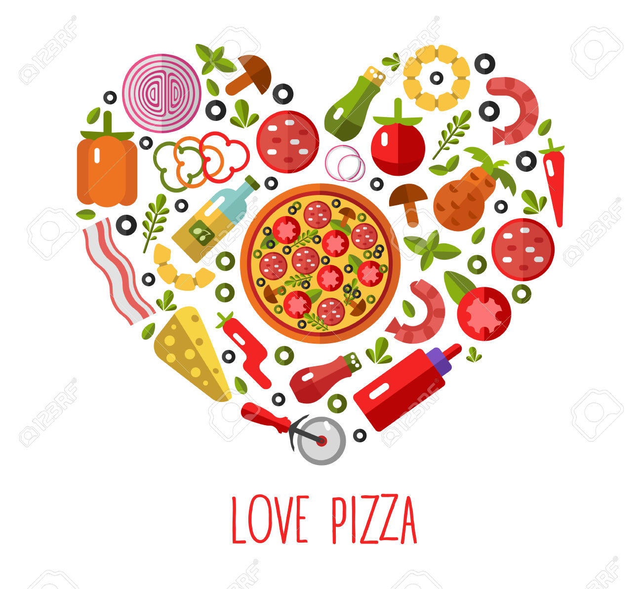 Vector Flat Pizza's Icons In Heart Shape Top View. Pizza's.