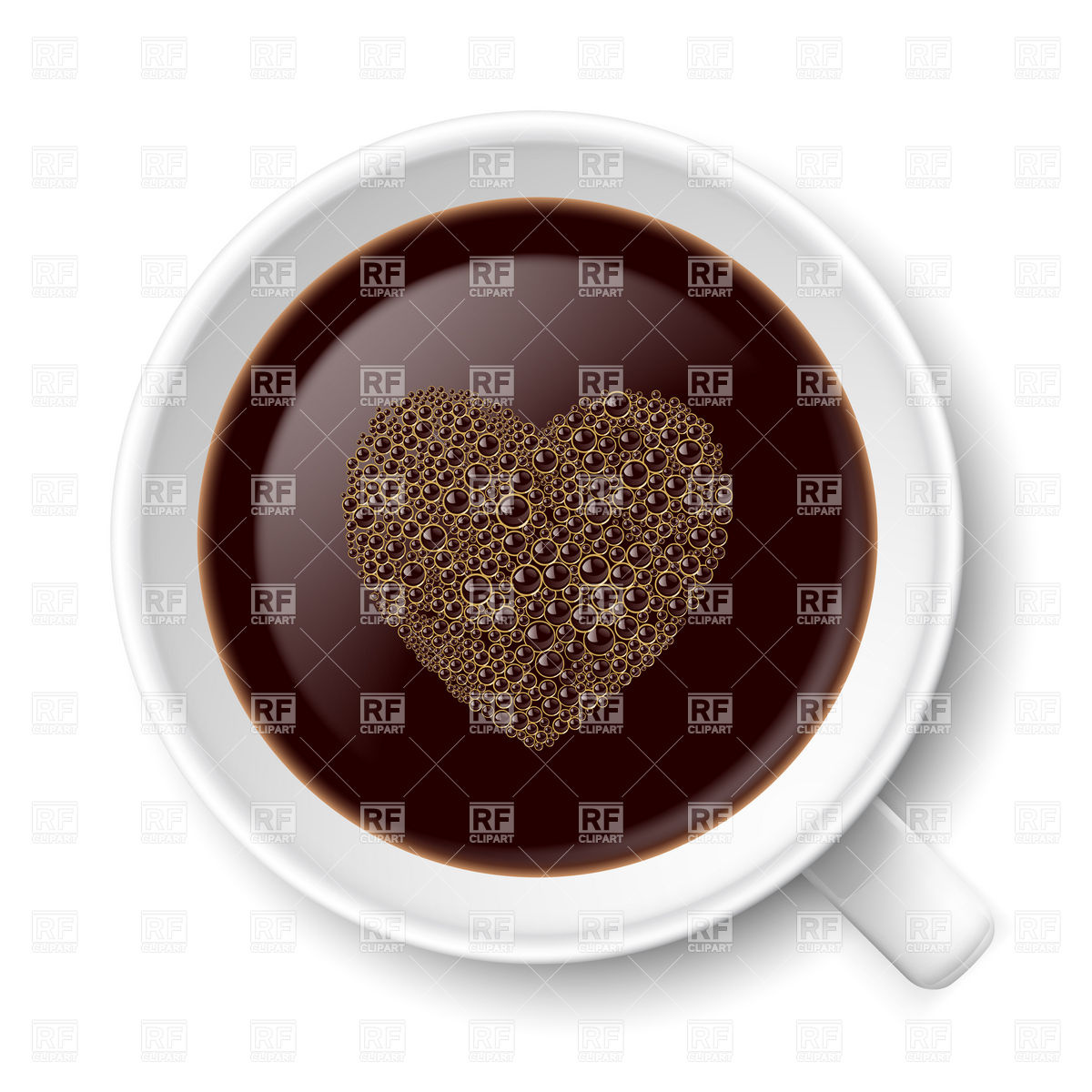 Top view of mug of coffee with heart.