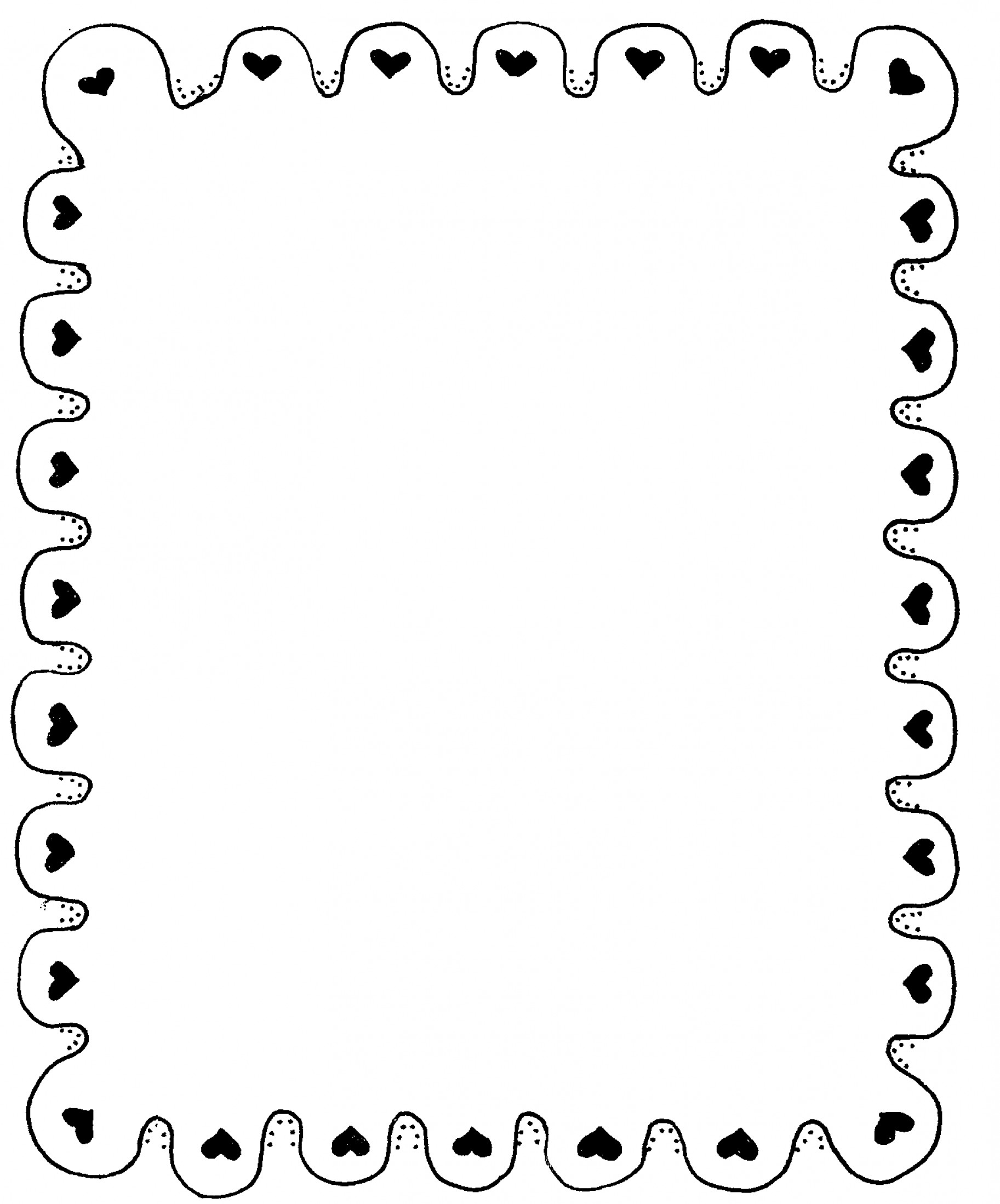 Best Black And White Heart Border Vector Draw.