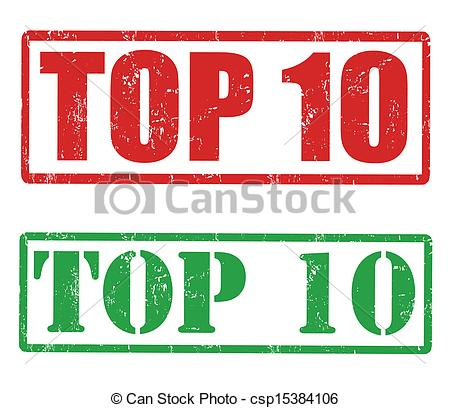 Clipart Vector of Top 10 stamp.