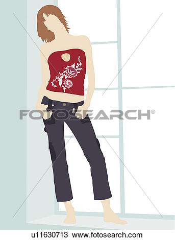 Drawing of Tube Top, One Person, Art u11630713.