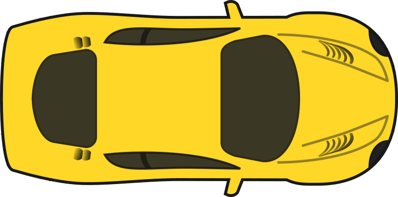 Free Clipart: Yellow Racing Car (Top View).