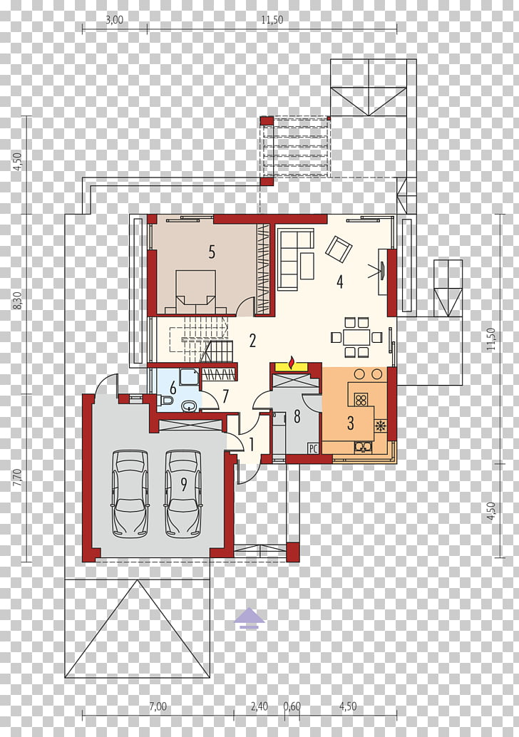 Floor plan House Square meter Garage, house PNG clipart.