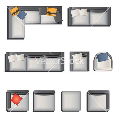 Furniture top view view set 6 vector  in 2019.