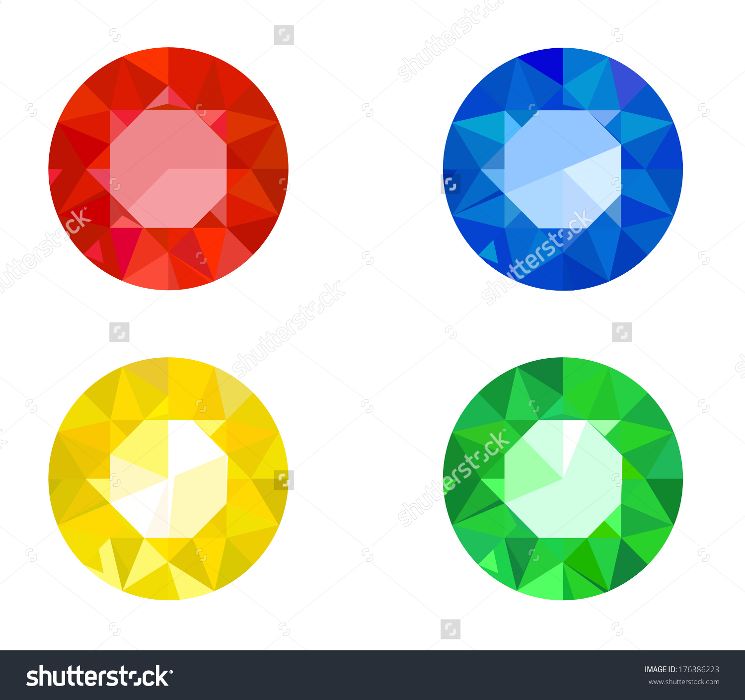 Set Various Jewels Ruby Sapphire Topaz Stock Vector 176386223.