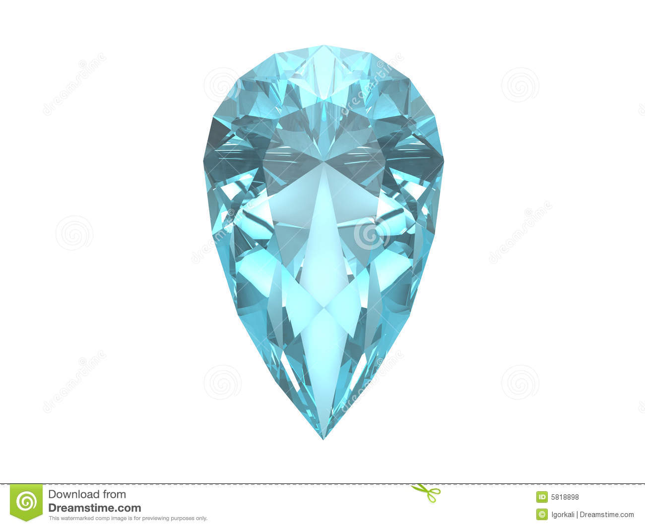 Blue Topaz Isolated On White Background Royalty Free Stock Photos.
