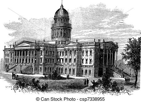 Clipart Vector of Topeka, Capitol of the state of kansas or Kansas.