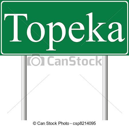 Clipart Vector of Topeka green road sign isolated on white.