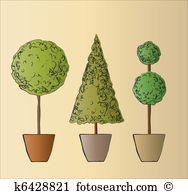 Topiary tree Clipart EPS Images. 75 topiary tree clip art vector.