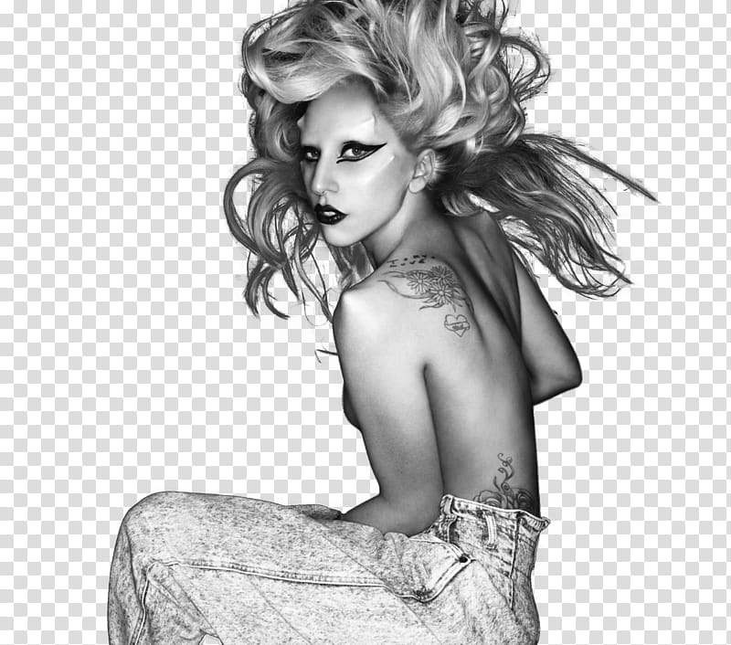 Lady Gaga, grayscale graphy of topless woman transparent.