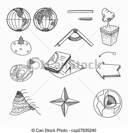 EPS Vector of Geography lesson School objects and educational.