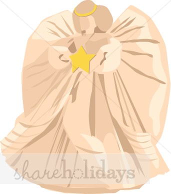 Pink Christmas Angel Tree Topper Clipart.
